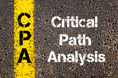 cpa: Concept image of Business Acronym CPA Critical Path Analysis written over road marking yellow paint line Stock Photo