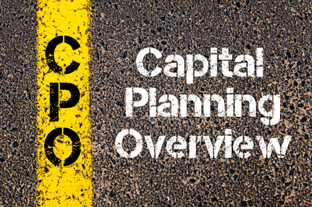 cpo: Concept image of Business Acronym CPO Capital Planning Overview written over road marking yellow paint line