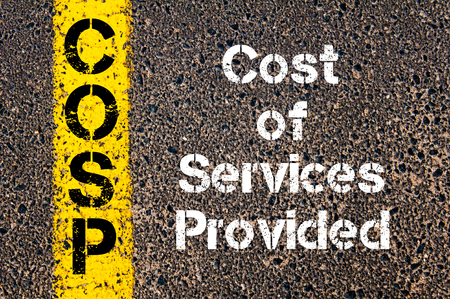 provided: Concept image of Business Acronym COSP Cost Of Services Provided written over road marking yellow paint line