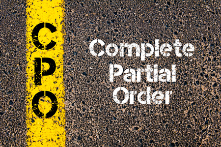 cpo: Concept image of Business Acronym CPO Complete Partial Order written over road marking yellow paint line Stock Photo