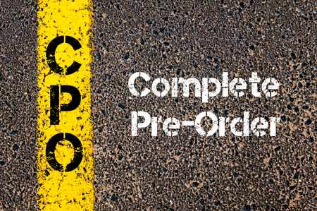 Concept image of Business Acronym CPO Complete Pre-Order written over road marking yellow paint line