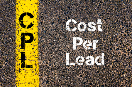 cpl: Concept image of Business Acronym CPL Cost Per Lead written over road marking yellow paint line Stock Photo