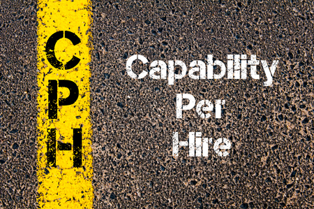 capability: Concept image of Business Acronym CPH Capability Per Hire written over road marking yellow paint line