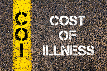 coi: Concept image of Business Acronym COI Cost of Illness written over road marking yellow paint line