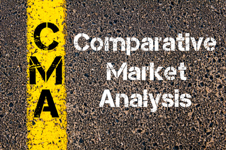 comparative: Concept image of Business Acronym CMA Comparative Market Analysis written over road marking yellow paint line Stock Photo