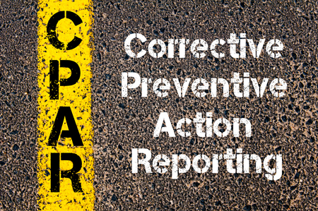 preventive: Concept image of Business Acronym CPAR Corrective Preventive Action Reporting written over road marking yellow paint line