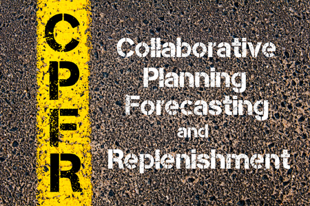 replenishment: Concept image of Business Acronym CPFR Collaborative Planning Forecasting And Replenishment written over road marking yellow paint line