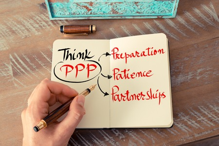 paciencia: Retro effect and toned image of a woman hand writing a note with a fountain pen on a notebook. Handwritten text Think PPP as Preparation, Patience, Partnerships as business concept image