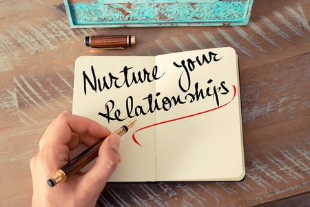 nurture: Retro effect and toned image of a woman hand writing a note with a fountain pen on a notebook. Handwritten text Nurture Your Relationships as business concept image