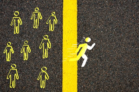 find your way: Road marking yellow paint dividing line between rest of people and male symbol crossing the line running, Find Your Own Way concept image