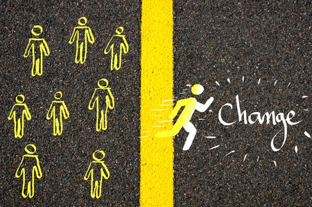 Road marking yellow paint dividing line between rest of people and male symbol crossing the line running towards Change, concept image