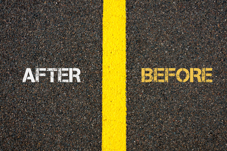challenges ahead: Antonym concept of AFTER versus BEFORE written over tarmac, road marking yellow paint separating line between words Stock Photo