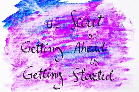getting started: Inspirational abstract water color textured background, The Secret Of Getting Ahead Is Getting Started Stock Photo