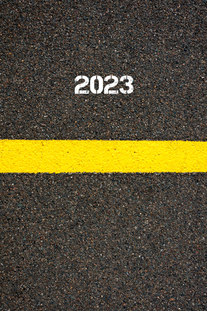 yellow line: Road marking yellow paint dividing line year 2023, concept image