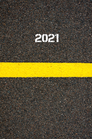 yellow line: Road marking yellow paint dividing line year 2021, concept image