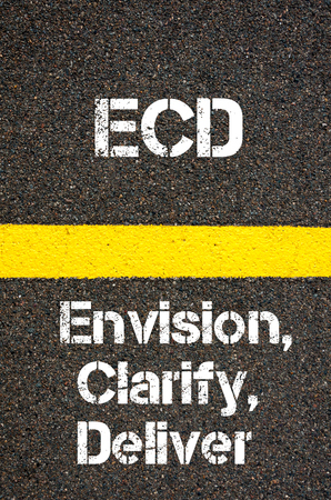 envision: Concept image of Business Acronym ECD Envision, Clarify, and Deliver written over road marking yellow paint line