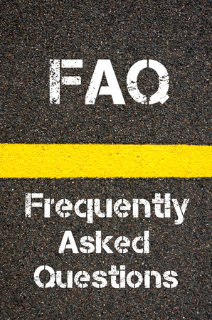 financial questions: Concept image of Business Acronym FAQ Frequently Asked Questions written over road marking yellow paint line