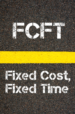 fixed line: Concept image of Business Acronym FCFT Fixed Cost, Fixed Time written over road marking yellow paint line