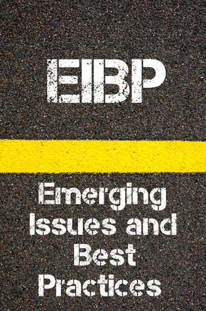 best practices: Concept image of Business Acronym EIBP Emerging Issues and Best Practices written over road marking yellow paint line