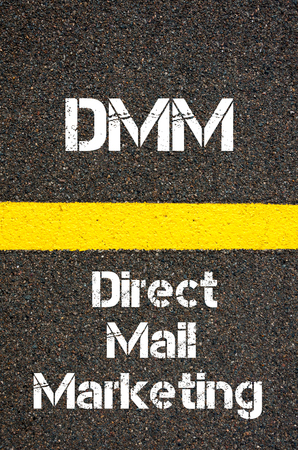 direct mail: Concept image of Business Acronym DMM Direct Mail Marketing written over road marking yellow paint line