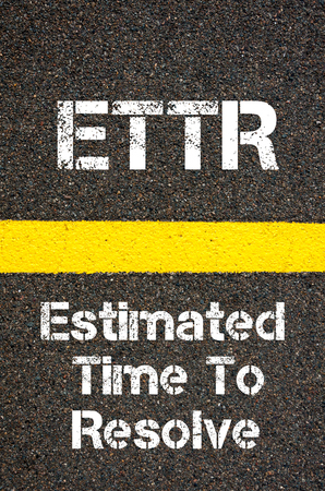 resolve: Concept image of Business Acronym ETTR Estimated Time To Resolve written over road marking yellow paint line
