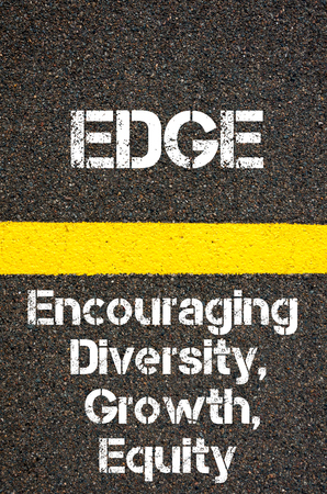 encouraging: Concept image of Business Acronym EDGE Encouraging Diversity Growth And Equity written over road marking yellow paint line Stock Photo