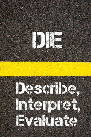 describe: Concept image of Business Acronym DIE Describe, Interpret, Evaluate written over road marking yellow paint line Stock Photo