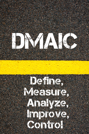 define: Concept image of Business Acronym DMAIC Define, Measure, Analyze, Improve, and Control  written over road marking yellow paint line