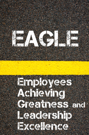 greatness: Concept image of Business Acronym EAGLE Employees Achieving Greatness And Leadership Excellence written over road marking yellow paint line