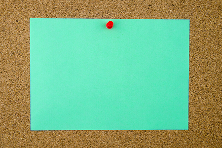 thumbtack: Blank turquoise paper note pinned on cork board with red thumbtack, copy space available Stock Photo