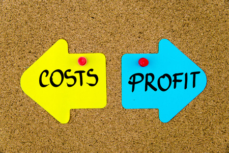yellow thumbtacks: Message COSTS versus PROFIT on yellow and blue paper notes as opposite arrows pinned on cork board with thumbtacks. Choice conceptual image