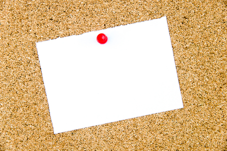cork sheet: Blank white paper note pinned on cork board with red thumbtack, copy space available