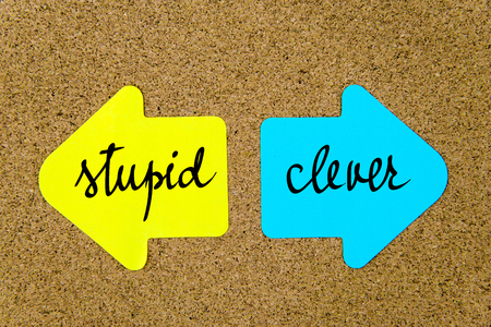 yellow thumbtacks: Message Stupid versus Clever on yellow and blue paper notes as opposite arrows pinned on cork board with thumbtacks. Choice conceptual image Stock Photo
