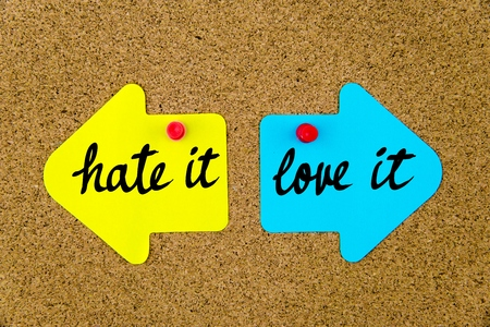 yellow thumbtacks: Message Hate It versus Love It on yellow and blue paper notes as opposite arrows pinned on cork board with thumbtacks. Choice conceptual image Stock Photo