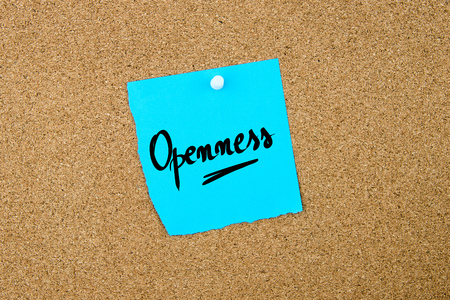 openness: Openness written on blue paper note pinned on cork board with white thumbtacks, copy space available Stock Photo