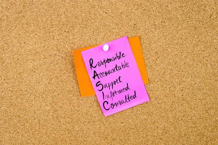 consulted: Business Acronym RASIC as Responsible, Accountable, Support, Informed, Consulted written on paper note pinned on cork board with white thumbtack, copy space available