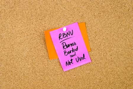 booked: Business Acronym RBNU as Rooms Booked and Not Used written on paper note pinned on cork board with white thumbtack, copy space available Stock Photo