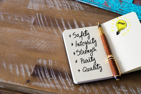 pen quality: Business Acronym SISPQ Safety Integrity Strength Purity and Quality written with fountain pen on notebook. Concept image with copy space available.