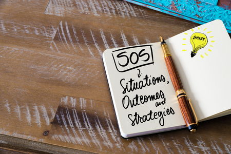 outcomes: Handwritten text SOS as Situations, Outcomes and Strategies with fountain pen on notebook. Concept image with copy space available.