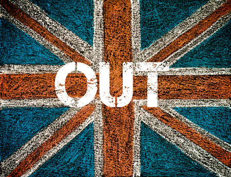 yes or no to euro: BREXIT concept over British Union Jack flag, OUT message