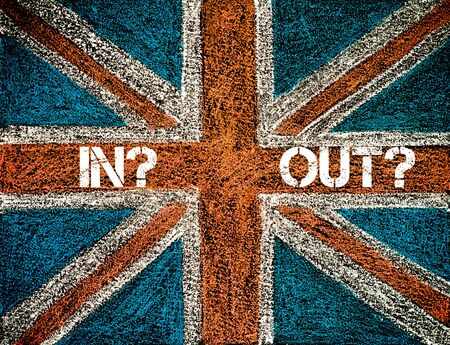 yes or no to euro: BREXIT concept over British Union Jack flag, IN versus OUT message