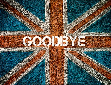 イギリスのユニオン ジャックの旗、さよならメッセージ BREXIT コンセプト 写真素材