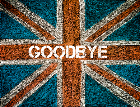yes or no to euro: BREXIT concept over British Union Jack flag, GOODBYE message