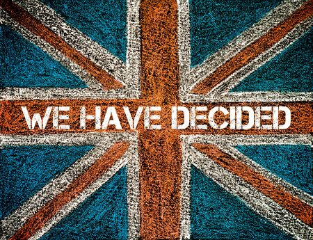 decided: BREXIT concept over British Union Jack flag, WE HAVE DECIDED message Stock Photo