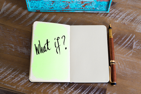 what if: Handwritten question What If ? Stock Photo