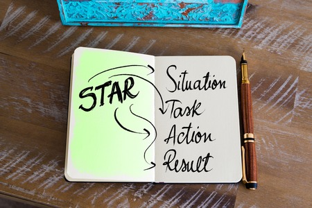 acronym: Business Acronym STAR as Situation, Task, Action, Result Stock Photo