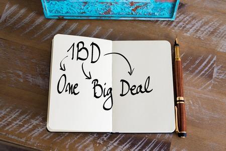 big deal: Business Acronym 1BD as One Big Deal handwritten on notebook