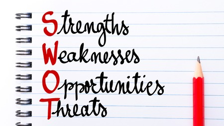 weaknesses: SWOT Strengths, Weaknesses, Opportunities, Threats written on notebook page with red pencil on the right Stock Photo