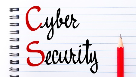 cs: CS Cyber Security written on notebook page with red pencil on the right Stock Photo