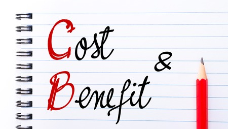 cb: CB Cost Benefit written on notebook page with red pencil on the right